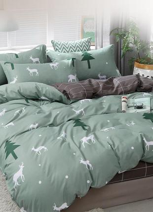 Двуспальный комплект постельного белья с оленями и елками олив...