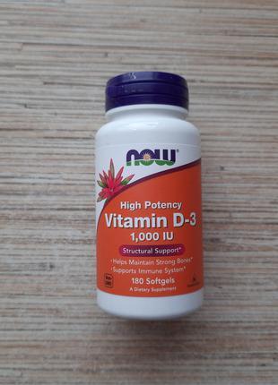 Now Foods, витамин D3, высокоактивный, 1000 МЕ, 180 таблеток, США