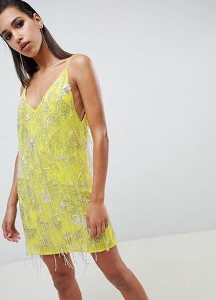 Лимонное платье  расшитое бисером р. xs