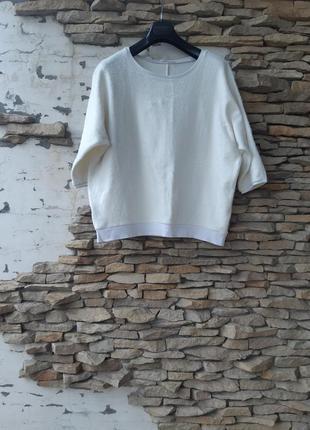 Котоновый с начесом пуловер большого размера