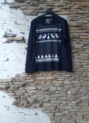 Котоновый с  принтом пуловер,  лонгслив большого размера