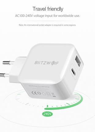 Зарядное BlitzWolf BW-S11 30W Type-C PD/QC3.0+2.4A 2 USB.