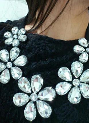 Колье подвеска ожерелье массивное большое цветы камни подвеска...
