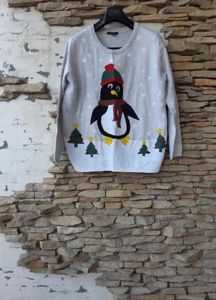 Теплый со снеговиком ☃️ пуловер большого размера