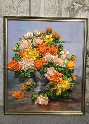 Вышивка лентами «Розы в вазе»
