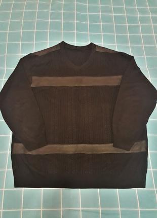 Мужской джемпер с кожаными вставками. большой размер 5xl