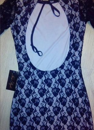 Красивое гипюровое платье мини с открытой спиной гипюр кружево...