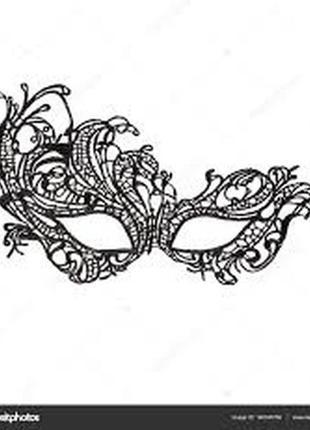Карнавальная венецианская маска черная ажурная для карнавала, ...