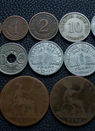 Монеты Европы 1891-1944. 12 монет.