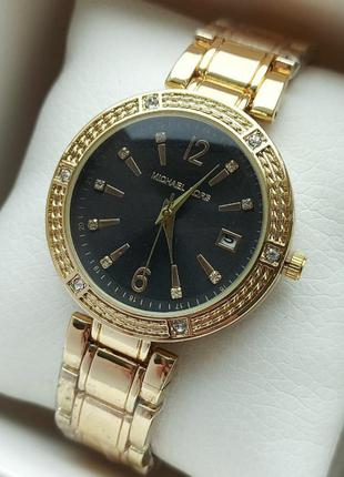 Золотистые женские часы на батарейке, черный циферблат