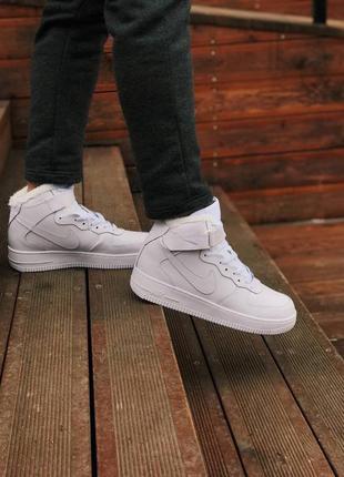 Белые кроссовки унисекс с мехом nike air force