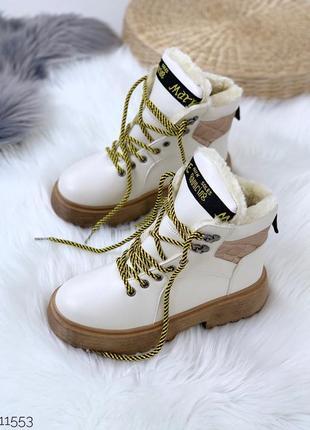 Зимние белые ботинки на низком ходу,белые ботинки на меху.