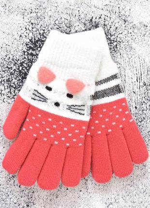 """Детские перчатки """"kitty"""" молочный с красным"""