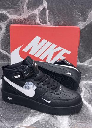 Кожаные кроссовки nike air force черные, весенние, мужские