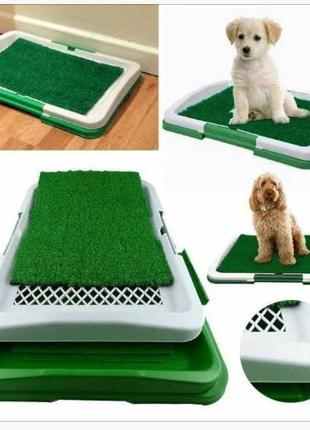 Трёхслойный туалет для собак Puppy Potty Pad травка