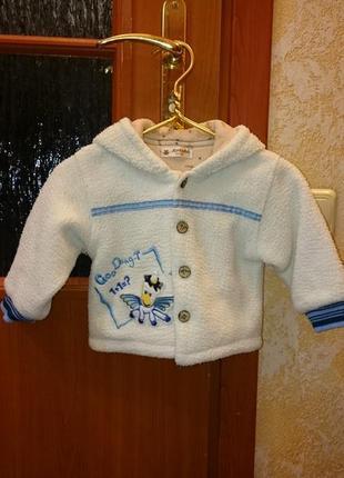 Кофта тёплая с капюшоном для мальчика 1 - 2 года