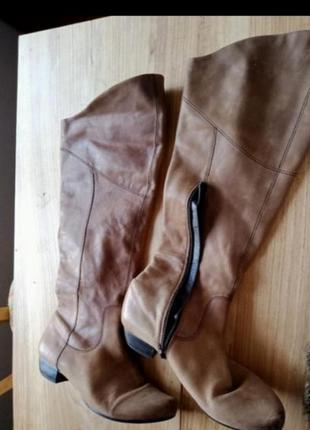 Кожа ботинки ботфорты