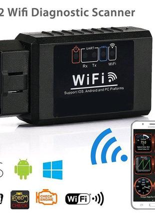 Диагностический автосканер адаптер OBD2 сканер ELM327 WiFi v1.5 д