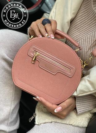 Модная круглая сумка кросс-боди с кисточками / т. пудра