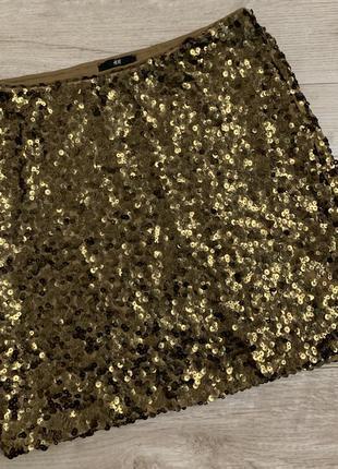 Юбка короткая по фигуре золотые паетки от h&m размер с