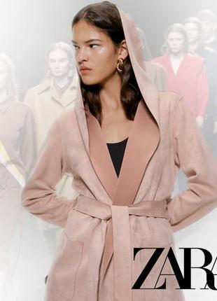 Пудровое замшевое пальто тренч zara s_m