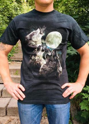 Американская мужская футболка с 3д рисунком волка светится в т...