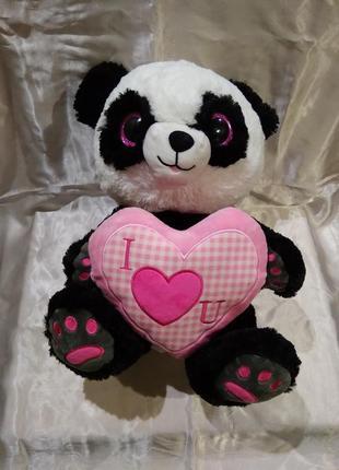 Большая мягкая игрушка мишка панда с сердцем медведь