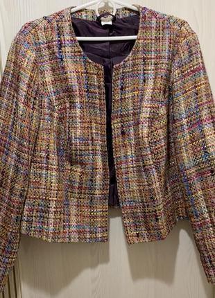 Красивый твидовый пиджак шерсть в составе размер л/хл