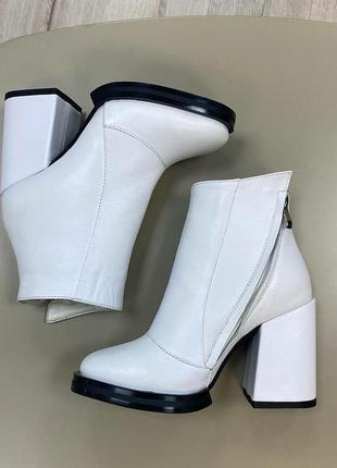 Белоснежые ботиночки моника кожа осень зима