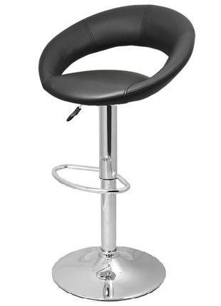 Барный стул высокий Люксус, мягкий, черный