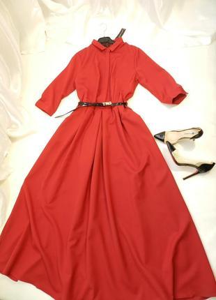 ⛔шикарное платье  в пол с пышной юбкой и карманами, поясок в к...
