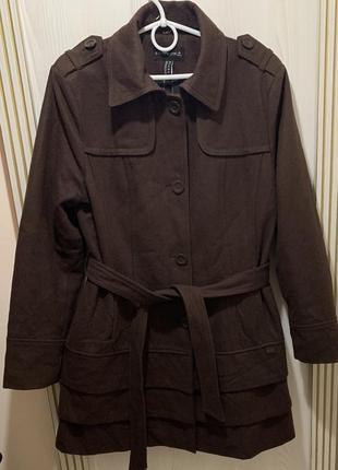 Тёплое коричневое шерстяное пальто размер ххл-3хл