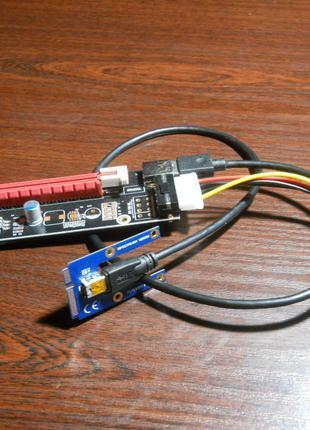 Riser райзер PCI-E 1x to 16x 60cm Новый