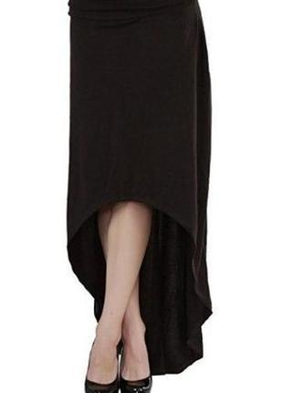 Черная юбка асимметричной длины и трикотажной ткани m