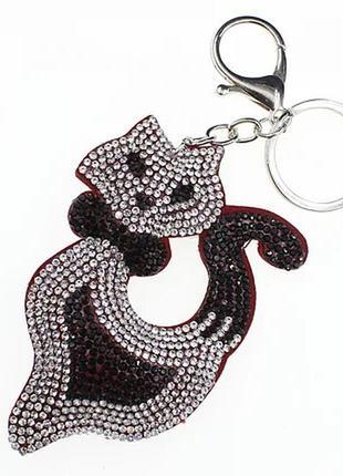 Брелок со стразами (камнями) в виде кота