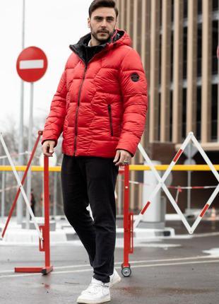 Мужская зимняя куртка пуховик красный