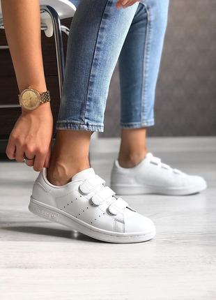 Adidas stan smith white. женские кожаные белые кроссовки адидас.