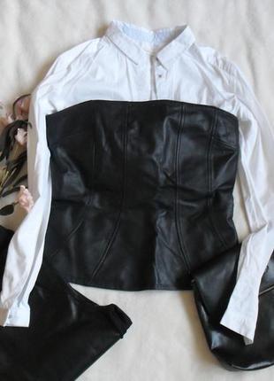 Кожаный топ корсет бюстье, 100% кожа h&m