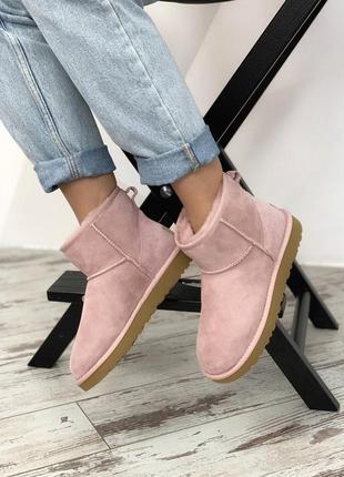 Ugg classic ii mini pink. женские ❄️зимние❄️замшевые сапоги\уги.