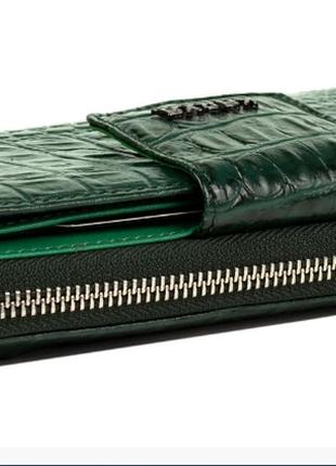 Женский кошелек karya 1119-017 кожаный зеленый с тиснением