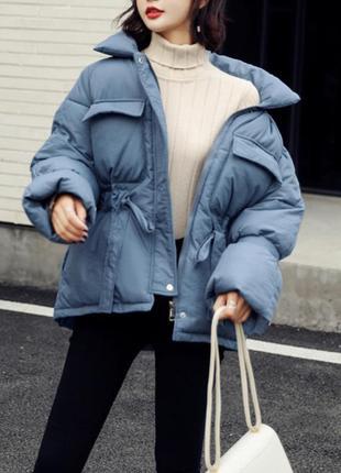 Куртка пуховик женская на поясе синяя