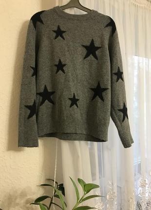 Объёмный oversize свитер кофта оверсайз s-m фирменный f&f серый