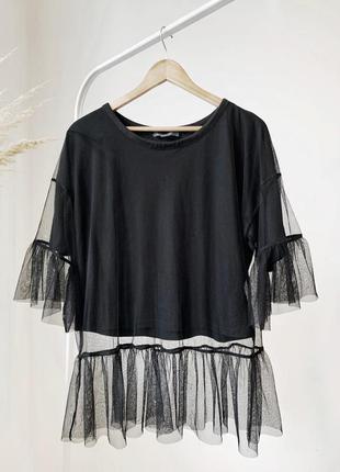 Чорна блузка сетка з футболкою