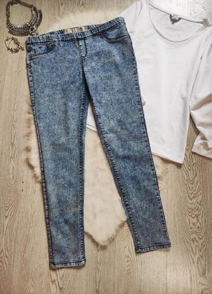 Голубые синие джинсы скинни варенки джеггинсы со швом пуш-ап п...