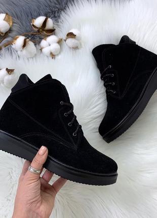 Чёрные замшевые кроссовки,демисезонные кроссовки из натурально...
