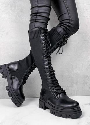 Женские демисезонные чёрные сапоги на шнуровке,весенние сапоги...