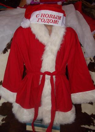 Детский новогодний костюм санты+колпак
