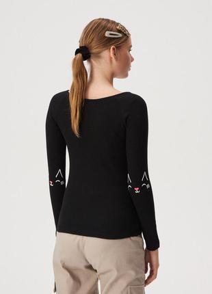 Новая облегающая черная кофта лонгслив блузка польша вышивка к...
