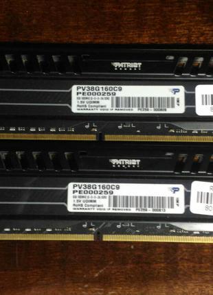 Оперативная память PATRIOT 8 GB DDR3 1600 MHz (PV38G160C9) 2шт