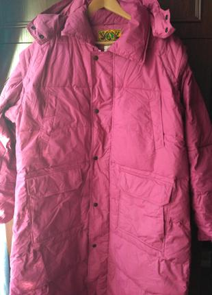 Пальто женское пуховик сиреневое